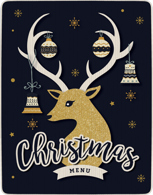 Christmas Menu cover: reindeer with decorated antlers