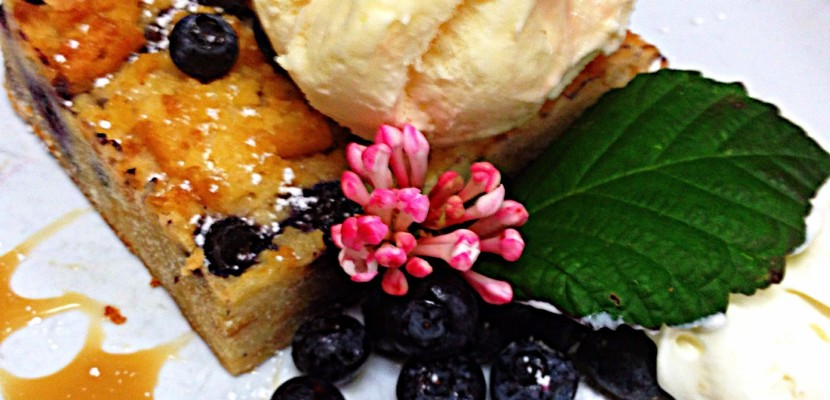 Wild blueberry waffle bread pudding